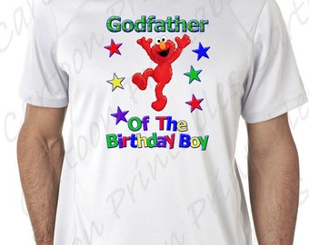 Elmo Godfather Of The Birthday Boy IMAGE Use As Printable Clip Art Iron On Transfer Sesame Street Shirt T Party DOWNLOAD DIY