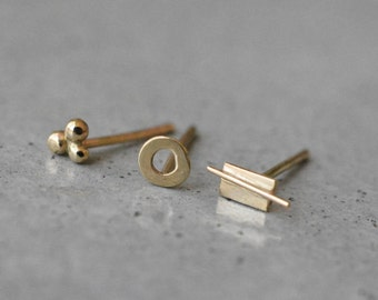 14k gold stud earrings, gold stud earrings, solid gold stud earrings, mix and match earrings, yellow gold studs, 14k tiny gold stud, netamit