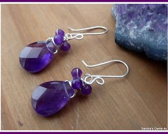 Amethyst Earrings, wire wrapped in Sterling Silver, February birthstone