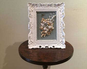 Vintage Shabby Chic Pearl and Rhinestone Jewelry Bouquet Gift on Velvet in White Frame