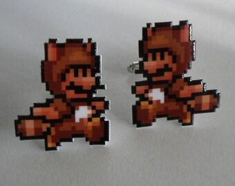 wanna buy a squirrel - super mario 3 tanooki cufflinks