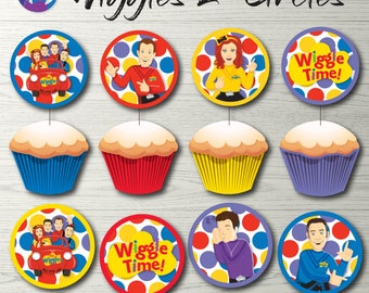 "Wiggles Cupcake Toppers, Wiggles Party Decoration, Wiggles Badges, Wiggles 2"" Circles, Wiggles Printable, Wiggles Decoration Wiggles Circles"