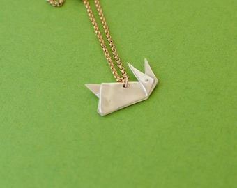 Origami Rabbit Necklace - Silver Origami Rabbit Jewelry - Fine Silver Folded Bunny Pendant