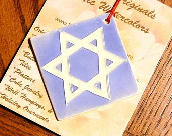 STAR OF DAVID hand carved ceramic ornament