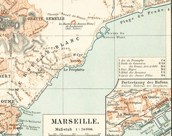 Marseille city map   Marseille harbor map  French harbor city plan 19th century map : Antique 1890s lithograph original old book page