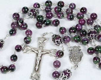 Rubyzoisite Rosary - Handmade Gift for Catholic Women - Green, Red, Pink and Black, Bali Silver Beads, Miraculous Medal. Heirloom Rosaries