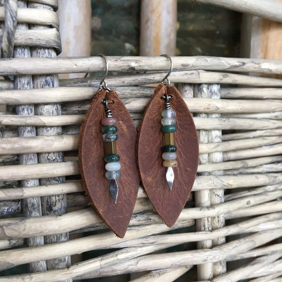 Boho Leather Leaf Earrings  - Earthy Bohemian Dangle in Deep Brown Leather with Agate Drops  - Gift for Her