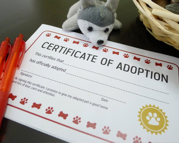Puppy Dog Adoption Certificate Birthday Party Printable