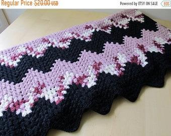 30% Off Sale Vintage Crochet Chevron Blanket in Mauve Pink, Rose, Cream, Black Zig Zag Stripes, Twin Size or Throw