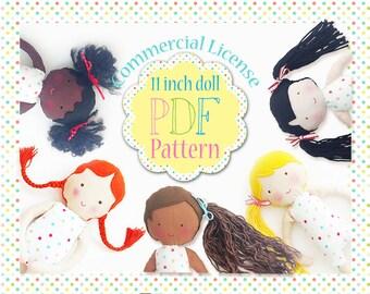 "Commercial License Blossom Dolls 11"" Doll PDF Pattern"