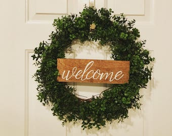 Boxwood wreath with sign