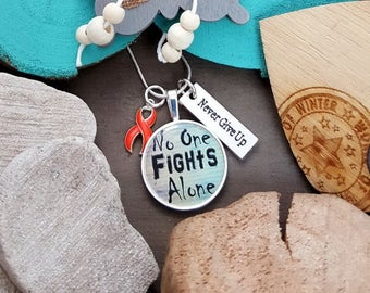 RO-2 Multiple Sclerosis Necklace Leukemia No One Fights Alone Necklace RSD Chronic Illness MS Awareness Jewelry Never Give Up
