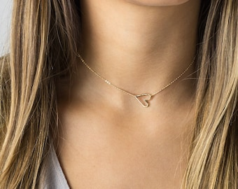 Dainty Choker Necklace • Open Heart Choker, Delicate • Simple, Thin Short Necklace • Gold or Silver • Layered and Long, LN112_aj
