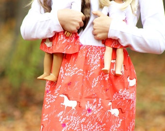 Size 14 SAMPLE SALE - Matching Girl Doll Clothes fits American Girl Doll OR Wellie Wisher - Horses in Meadow Skirts