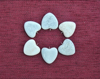 6 Heart Stone-Heart pendants with ring on top-Ready for painting- (Q8)