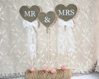 Rustic wedding cake topper, Mr & Mrs Cake Topper, wedding cake topper rustic, Burlap Cake Topper, country burlap cake topper, burlap topper