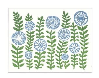 Green Gardens letterpress greeting card, blank inside, linocut, block print, floral, botanical, handmade, made in Maine, flowers, leaves