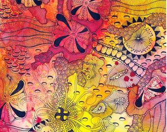 "Original Zentangle Artwork by Alice Hendon, 8"" x 10"""