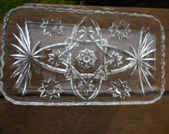 Vintage 1950s to 1960s Pressed Glass Tray Rectangle Scalloped Edges Serving Dish Retro Parties