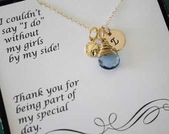 3 Bridesmaid Gift Personalized Gold Sand Dollar, Bridesmaid Necklace, Beach Wedding, Gold, Gemstone, Initial jewelry, Thank you Card