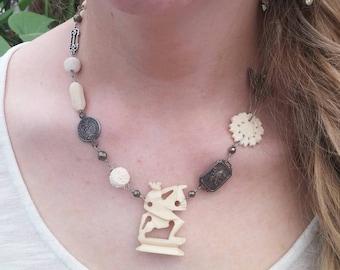 CHAMPION Vintage Bone chess piece antique assemblage necklace