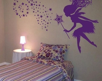 Whimsy Fairy with her Magic Wand and Stars - Wall Decals - Your Choice of Color