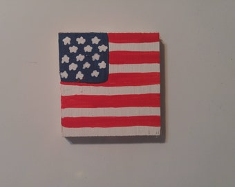American Flag magnet, 4th of July magnet, Wood American Flag magnet, Wood flag magnet, Wooden flag magnet, Refrigerator magnet, 4th of July