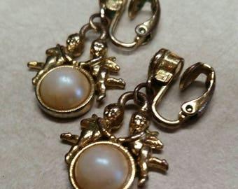Vintage Clip-on Cherub Faux Pearl Dangle Earrings