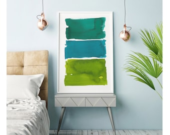 Green Abstract Art, Watercolor Painting, Watercolor Print, Large Wall Art, Oversized,Green Abstract Painting, Abstract Print, Minimalist Art