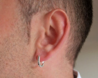 Mens Hoop Earring. Sterling Silver Large Earring for Men. Mens Jewelry. Oval Earring / Earring for Men / One Earring / Thick Earring for him