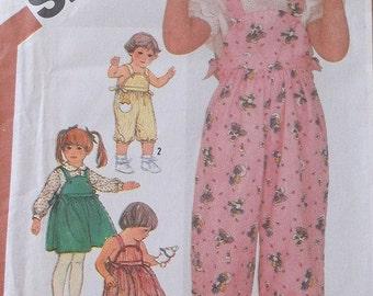 1980s Simplicity 5806 Vintage Toddler Overalls,Jumper and Sundress Pattern