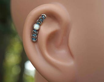 White Opal Moon Phases Stud Cartilage Earring Piercing 16g