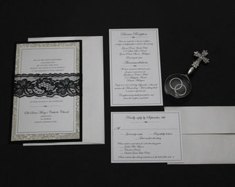 Elegant Romantic Black Lace Wedding Invitation