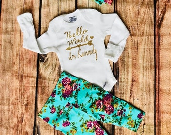 Floral coming home outfit