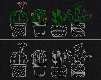 Cactuses - 4 cactus together and each separately - Machine embroidery design - 3 size for instant download