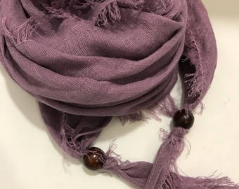 Pure Linen scarf, Linen triangle scarf lightweight 100% softened Linen-Lilac purple Scarf for Women-spring scarf-Easter Gift-beach scarf
