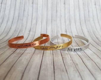 Personalized Bracelet Cuff- Custom Mother's day Gift- Personalized Jewelry - Hand Stamped Bracelet- Name Bracelet - Gift For Her