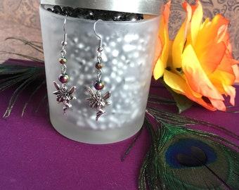 faerie charm earrings- purple & gold fairy drop earrings