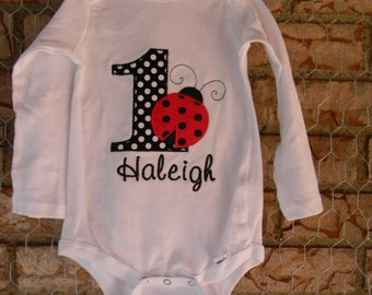 Girls ladybug birthday outfit, ladybug first birthday, ladybug birthday bodysuit, girls first birthday, ladybug first birthday, girls 1st