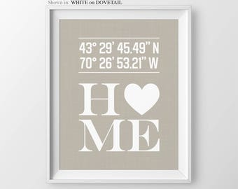 Custom Latitude Longitude Print, Personalized Housewarming Gift, Bridal Shower Gift, New Home Gift