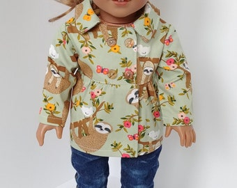 """Doll coat. 18 inch doll clothing. Fits like American girl. 18"""" doll clothes. Canvas sloth coat"""