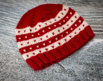 Fairisle Baby Beanie Hat, Ruby Red, Cream, Choose Size, Hand Knit, UK Seller, Baby Gift