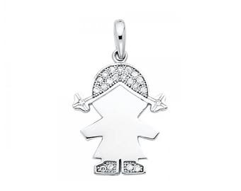14K Solid White Gold Cubic Zirconia Girl Pendant - Polished Necklace Charm