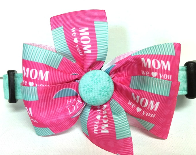 Featured listing image: Dog Mom Collar- The Happy Mother's Day- Collar with removable bow- Adjustable collar- Gift for Dog Mom