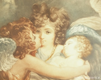 Antique French colored etching of guardian angels, after the painting of Joshua Reynolds and engraving by C.H. Hodges