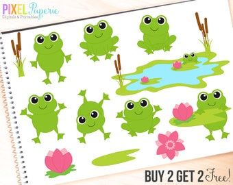 frog clipart clip art digital spring reptiles flowers - Frolicking Frogs Digital Clipart - BUY 2 GET 2 FREE