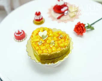 MTO-Mango - Heart Shaped Tart - Valentines - 12th scale miniature food