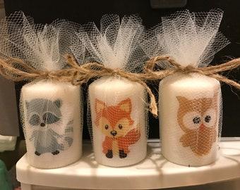 Baby Shower Favors, Shower Favor, Woodland Animal favors, Candle Favors,  classic themed Favors, Baptism , Holy Communition Favors