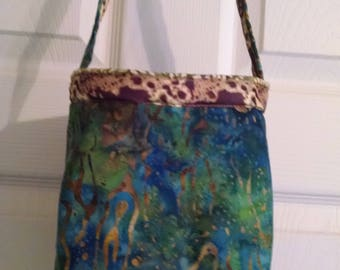 Paisley Bag - Project Bag - Batik Bag  - Travel Yarn Bag