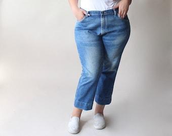 vintage plus size distressed ankle jeans, size 14-16